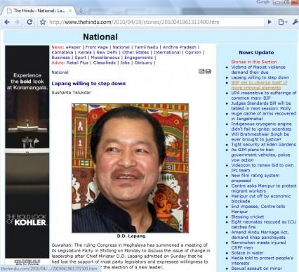 The Hindu newspaper misidentified Mizoram CM for Meghalaya